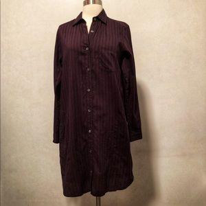 Steven Alan Burgundy Striped Shirtdress